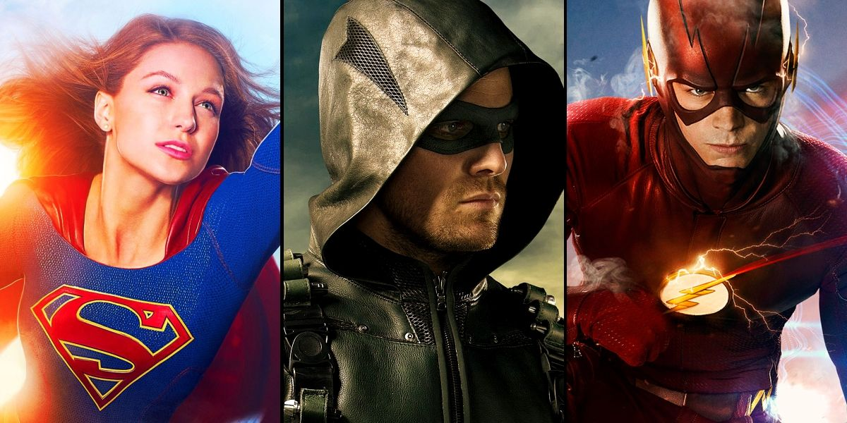 Montage of Supergirl, Green Arrow and The Flash character portraits