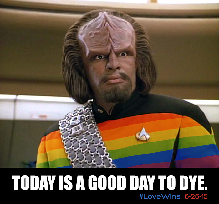 Star Trek's Worf in rainbow gay pride uniform