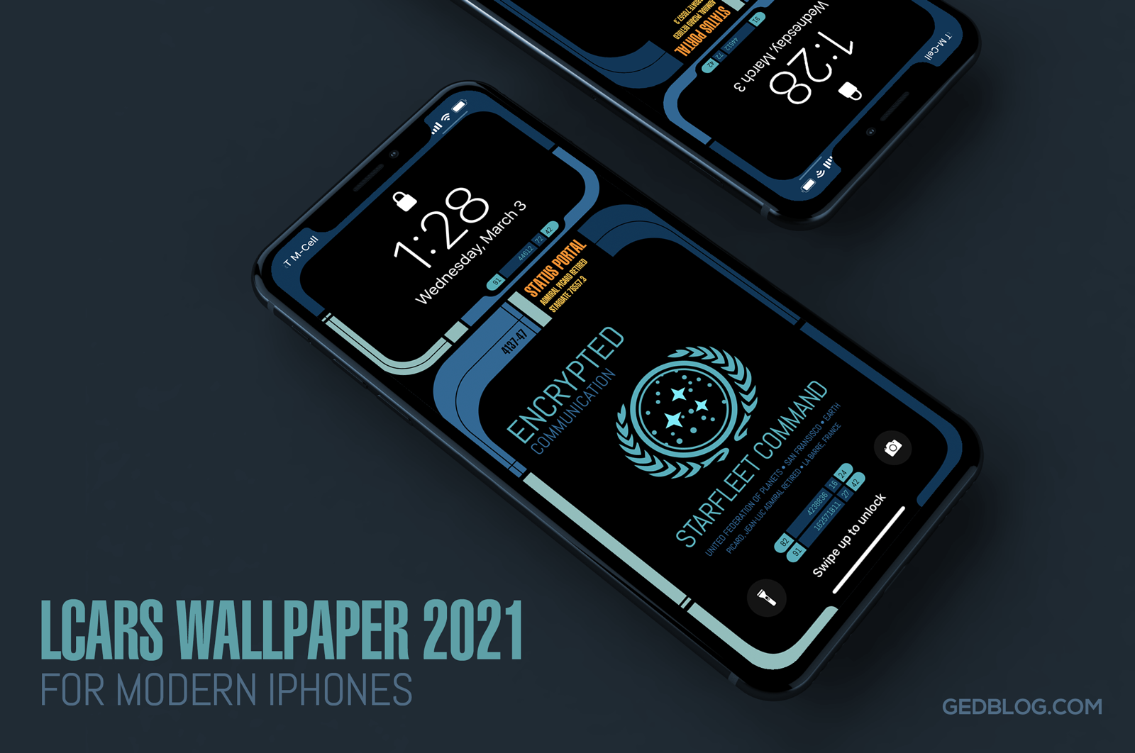iPhone lock screen showing the Star Trek LCARS 2021 wallpaper