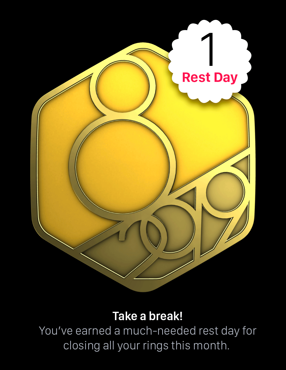 Concept for a perfect month badge that gives you a rest day as an award
