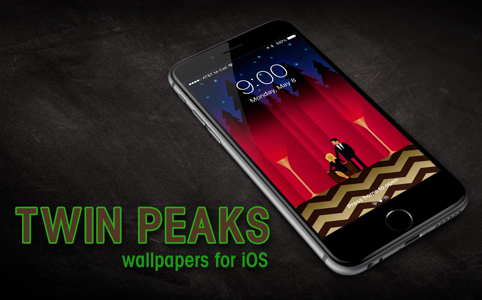 iPhone lock screen showing the Twin Peaks wallpaper