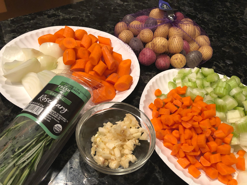 The prepped veggies for my pot roast recipe - carrots, celery, onions and potatoes