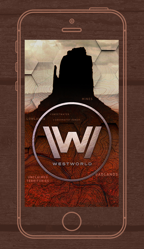 Westworld lock screen wallpaper displayed on an outline iPhone 6'